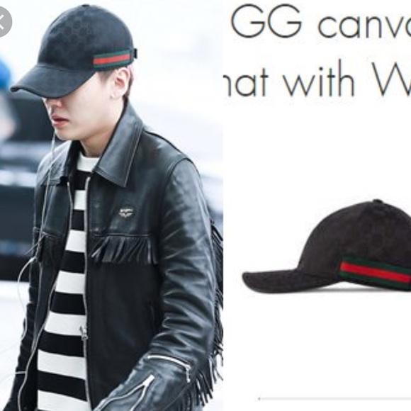 48c5c1764 GUCCI Black GG Canvas Black Leather Baseball Cap